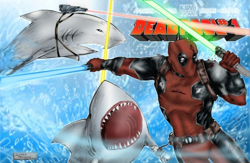 Deadpool Sharks Print Lineart V2